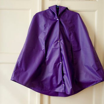 Purple Raincoat, Vintage Inspired Cape with Hood, Waterproof, Unisex Rain Jacket, Gift For Her