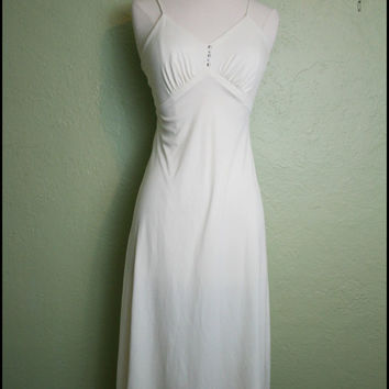 Vintage '70s Creme Spaghetti strap swing dress// by StoriesForBoys