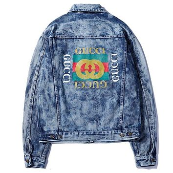 GUCCI Autumn And Winter Fashion New  Embroidery Letter And Back Letter Print Women Men High Quality Long Sleeve Coat Jacket Blue