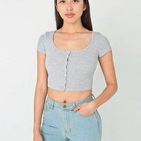 2x1 Rib Button Crop Top