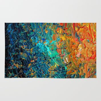 ETERNAL TIDE 2 Rainbow Ombre Ocean Waves Abstract Acrylic Painting Summer Colorful Beach Blue Orange Rug by EbiEmporium