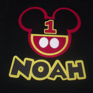 Red Black Yellow Minnie Mickey Mouse - Disney Birthday Family Custom T-Shirt Personalized Applique Head