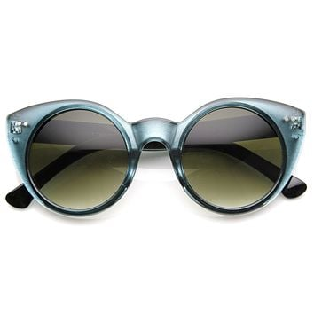 Womens Chic Retro Round Circle Cateye Sunglasses 8978