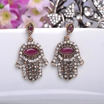 Free Shipping - Turkish Jewelry Palm Drop Gold Plated Big Eye Vintage Full Crystal Earrings