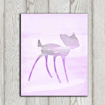 Fawn printable Purple pink watercolor print Nursery wall art Baby deer Nursery decor Baby shower gift idea Girls bedroom canvas 5x7, 8x10