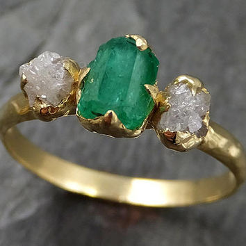 Raw Rough Emerald Conflict Free Diamonds 18k yellow Gold Ring One Of a Kind Gemstone Engagement Wedding Ring Recycled gold 0455