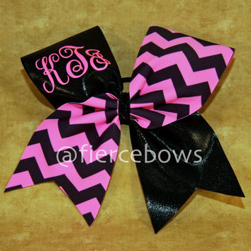 Chevron Monogram Cheer Bow