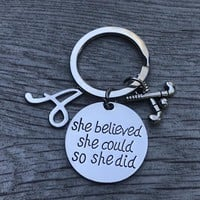 Personalized Field Hockey She Believed She Could So She Keychain