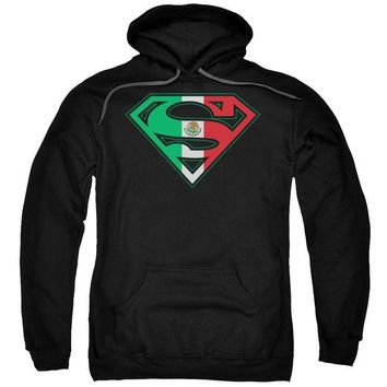 ac spbest Superman - Mexican Flag Shield Adult Pull Over Hoodie