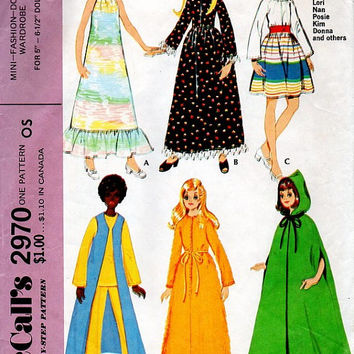 "McCall's 2970 Sewing Pattern Retro Doll Clothes Dawn Donna Dale Glori Tutti Lori 5"" 6 1/2"" Mini Dolls Barbie Wardrobe Cape Dress Jumpsuit"