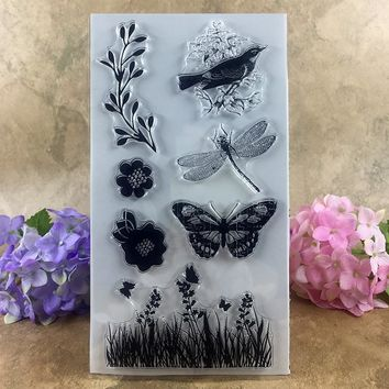 Spring Flowers Bird Dragonfly Butterfly Scrapbook DIY photo cards account rubber stamp clear stamp transparent stamp  20*11cm