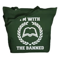 Tote Bag With The Banned Books Totes Librarian Bags Zip Top Zipper Book Totes Reader