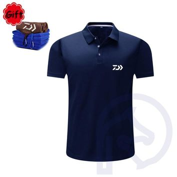 Men Summer Fishing T Shirt Black Cotton Short Sleeve Fishing Clothings Breathable Outdoor Sports Running Tops Jersey Gift Towel