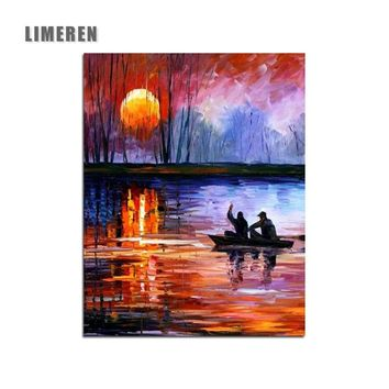 Sunset Lake Boat Acrylic Oil Modular Painting By Numbers Dropshipping Handpainted Coloring By Number For Modern Wall Art Picture