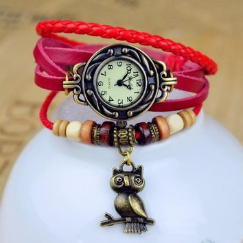 Hot Sales Owl Genuine Cow Leather Bracelet Watch women ladies female fashion dress quartz