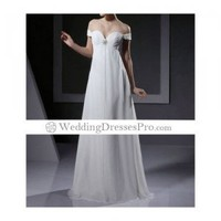 Off-the-shoulder Floor-length Chiffon Wedding Dress With Crystal Floral Pin(TTCLYZ270) [TTCLYZ270] - $137.99 : wedding fashion, wedding dress, bridal dresses, wedding shoes