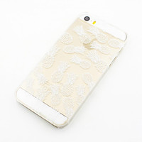 "H28 Clear Plastic Case Cover iPhone 6Plus (5.5"") Henna White Pineapple Overload summer psych fruit love hipster"