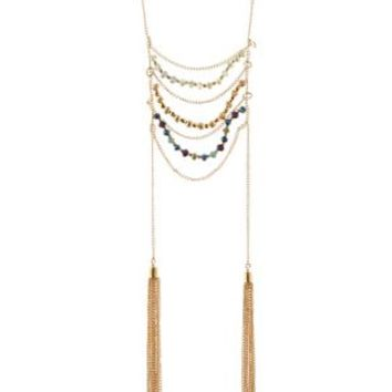 Multi Draped & Beaded Tassel Necklace by Charlotte Russe
