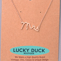 Dainty Rose Gold Mrs Necklace