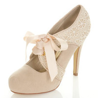 Sendia Nude Crochet Town Shoe - Miss Selfridge US