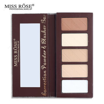 Makeup Professional 5 Colors Light Highlighter & Bronzer Pressed Powder Palette Oil-control With Mirror Miss Rose Cosmetic