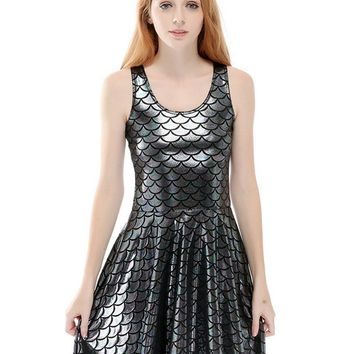 Silver Grey Wet Look Mermaid Fish Scale Print Vest Skater Dress