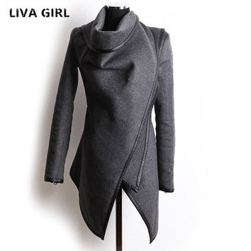 New Autumn Winter Trench Coat Women Irregular Collar Lapel Side Zipper Woolen Coat Women Loose Sweater Outwear Plus Size - Beauty Ticks