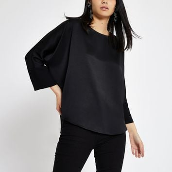 Black satin loose fit top