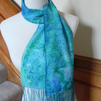 Sea blue and green hand dyed crepe silk scarf with fringe, # 383, Ready to ship