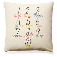 Numbers 20x20 Cotton Pillow, Natural, Decorative Pillows
