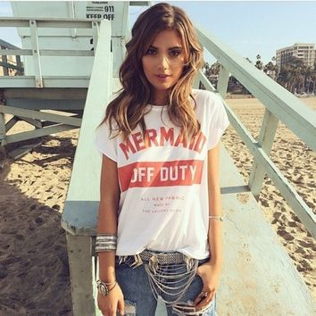 Mermaid Off Duty Letters Printed Women Top t-shirts Tumblr Fashion Casual Short Sleeved Oversize White T shirt Women's Gift 2018