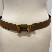 Hermes Belt Gold Buckle With Brown And Blavk Leather Strap