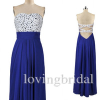 Royal Blue Beaded Sexy Cross Back Long A line Prom Dresses Bridesmaid Dresses Evening Dresses Formal/Informal Party Occasions 2014