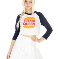BURGER QUEEN CROP RAGLAN
