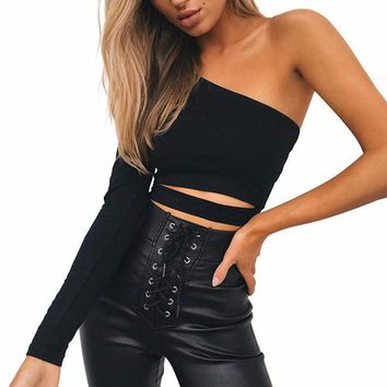 Black One-Shoulder One-Strip Crop Top