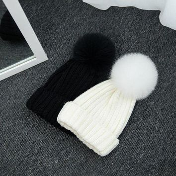 VONG2W 1Pcs Warm Winter Hat For Women Girls Knitted Beanies Adult And Children Knit Winter Cap Faux Fur Pompom Bonnet Gorro Invierno