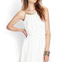 FOREVER 21 Beaded Open-Back Chiffon Dress Cream