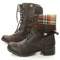 Oralee Brown PU-Leather Foldable Military Combat Boots Laced Up Women Soda Shoes