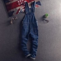Japanese Style Mens Bib Overalls Spring Autumn Fashion Denim Overalls For Men Suspenders Jeans Ripped Male Denim Jumpsuit XXL