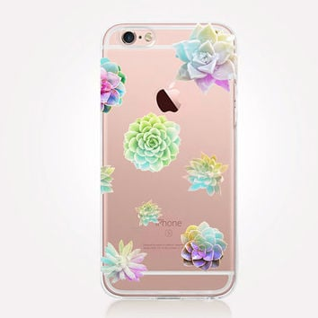 Transparent Succulents iPhone Case- Transparent Case - Clear Case - Transparent iPhone 6 - Transparent iPhone 5 - Samsung S7 - Gel Case