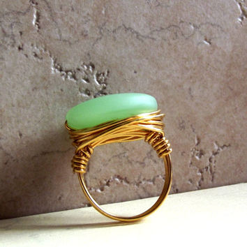 Seafoam Green Sea Glass Ring:  24K Gold Wire Wrapped Beach Jewelry, Mint Green