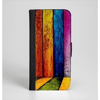 The Neon Wood Color-Planks Ink-Fuzed Leather Folding Wallet Case for the iPhone 6/6s, 6/6s Plus, 5/5s and 5c