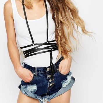Classic Leather Wrap Harness Black