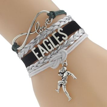 Infinity Love Philadelphia State Eagles football Team Bracelet black Customized Wristband friendship Braceletship