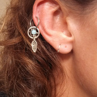 Small Amazonite Dream Catcher Cartilage Hoop Tragus Piercing Gemstone Upper Earring