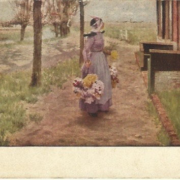 Antique Postcard - Art Institute of Chicago - Flower Girl In Holland - Early 1900s