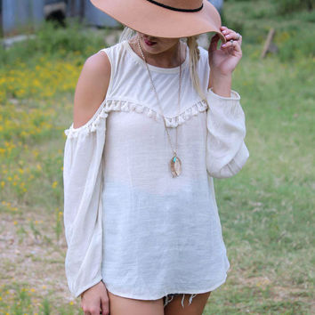 Shoulder Cut-out Long Sleeve Fringed Blouse