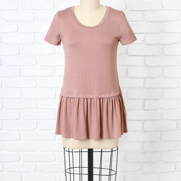Dusty Rose Peplum Tee