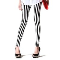Amour- Women Vertical Stripes Striped Ankle Length Footless Pantyhose Legging Skinny Slim One Size (M, White/black Stripe)