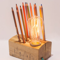 Wood lamp and pencil holder made from reclaimed materials, unique and simple minimalist, industrial home decor as table,desk or bedside lamp